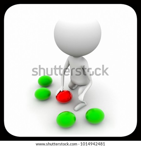 3d man playing with different balls concept on white isolated background , top angle view