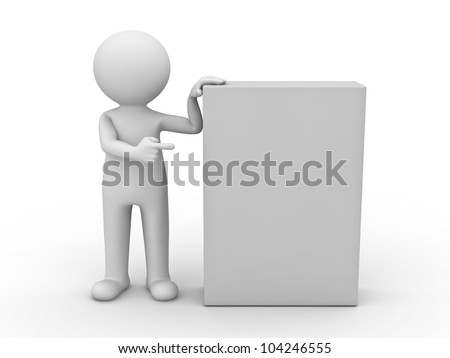3d man pointing finger at blank box on white background - stock photo