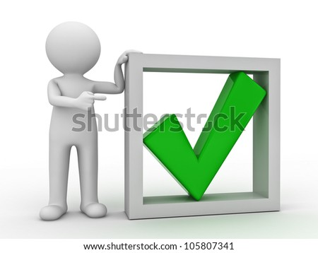 3d man pointing finger at green check mark in box on white background - stock photo