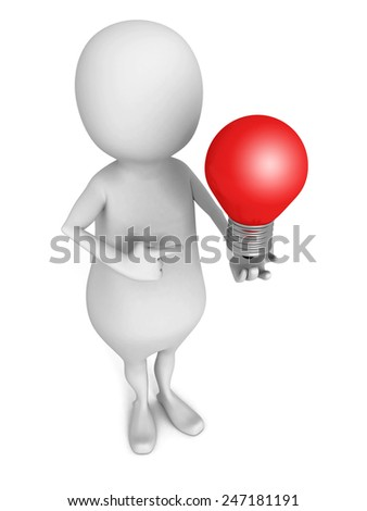3d man pointing on red concept idea lightbulb. 3d render illustration - stock photo