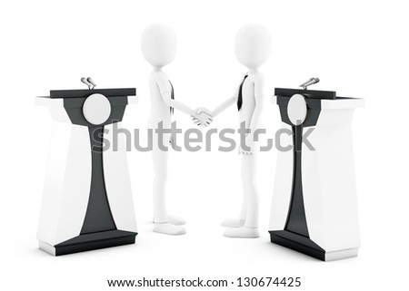 3d man politicians shaking hand on white background - stock photo