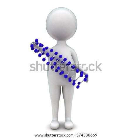 3d man presenting a dna structure concept in white isolated background - 3d rendering ,  front  angle view  - stock photo