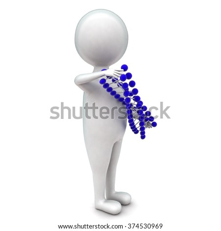 3d man presenting a dna structure concept in white isolated background - 3d rendering ,  side angle view  - stock photo