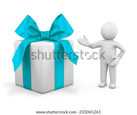 3d man presenting gift box over white background - stock photo