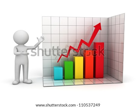 3d man presenting successful business graph over white background - stock photo