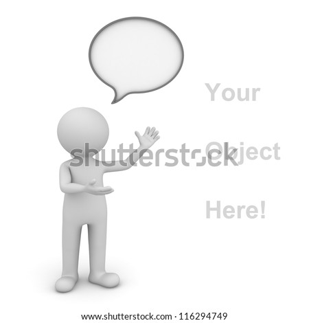 3d man presenting your product over white background with speech bubble - stock photo