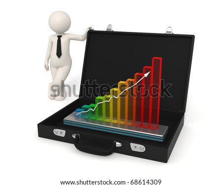 3d man presents business growth in a hologram graph placed in his briefcase - Isolated - stock photo