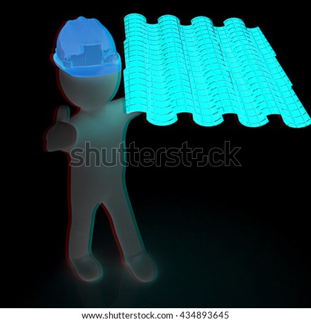 3d man presents the roof tiles on a black background. 3D illustration. Anaglyph. View with red/cyan glasses to see in 3D. - stock photo