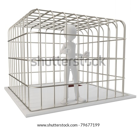 3d man prisoner in a silver cage isolated on white - stock photo