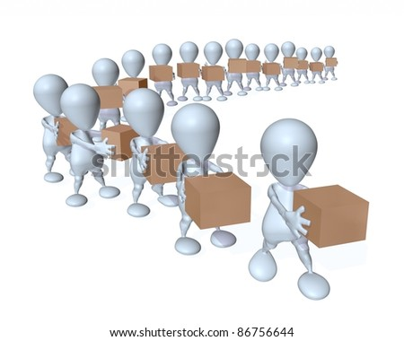 3d man product supply chain - stock photo