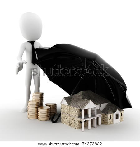 3d man -  Property insurance concept - stock photo