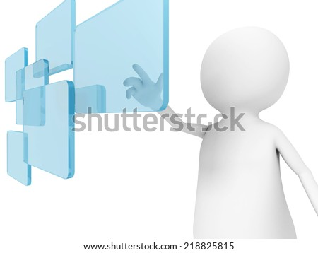 3d man push a digital touch screen in air. 3d render illustration - stock photo