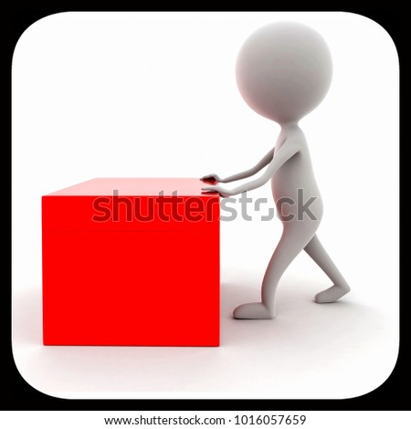 3d man pushing a box concept in white background, side  angle view