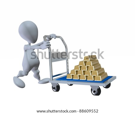 3d man pushing a cart loaded with gold ingot bars