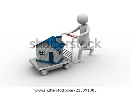 3d man pushing house in trolley - stock photo