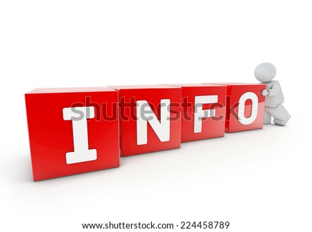 3d man pushing red 3d cubes with INFO word - stock photo