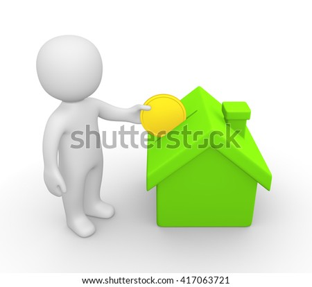 3d man putting coin into house. 3d illustration. - stock photo