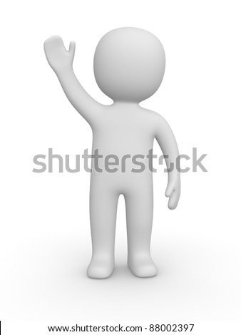3d man raised one's hand for greeting - stock photo