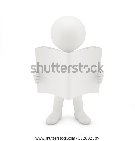 3D man reading a book. Isolated on white - stock photo
