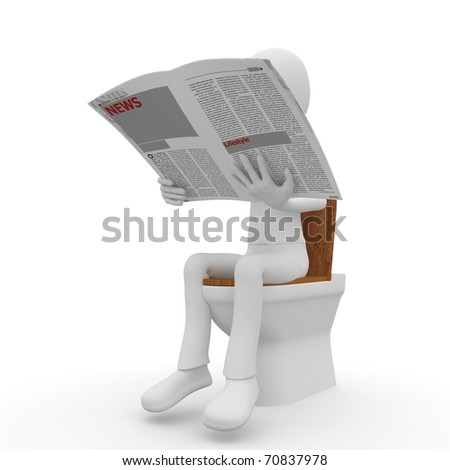 3d man reading on toilet  isolated on white
