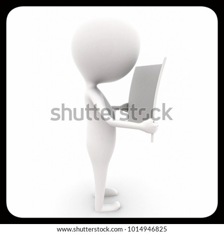 3d man reading paper concept on white isolated background , side angle view