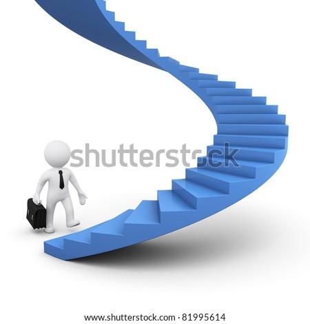 3D man ready to climb caree ladder - stock photo