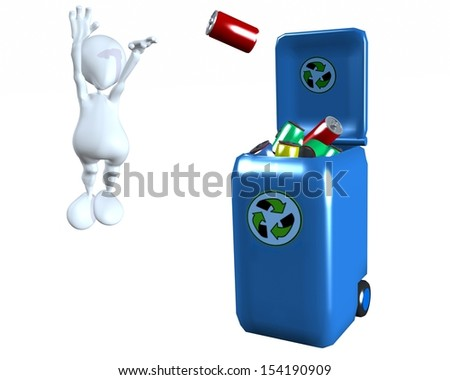 3d man recycling cans making a 3 point shot in a recycling bin  - stock photo