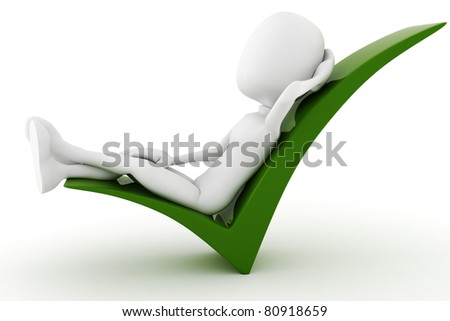 3d man relaxing in a positive sign isolated on white background - stock photo