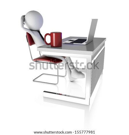 3d man resting at desk with laptop. Rendered on white background - stock photo