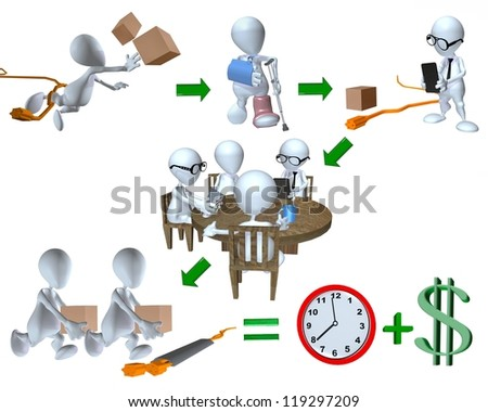 3d man risk management accident example for the workplace - stock photo
