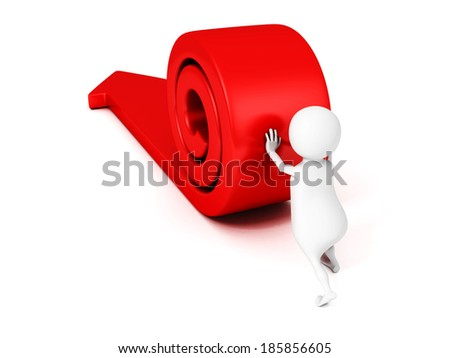 3d man rolling big red arrow to success. business concept 3d render illustration - stock photo