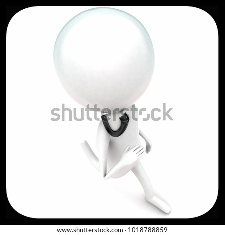 3d man running concept in white isolated background - 3d rendering ,   top angle view