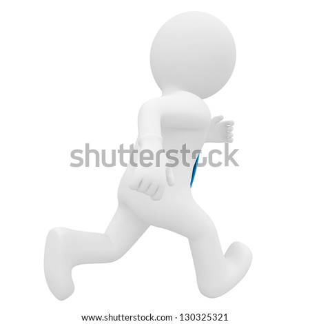 3D man running. Isolated render on a white background