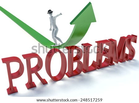 3d man running over the text problems. Concept of problem solving, crisis management - stock photo