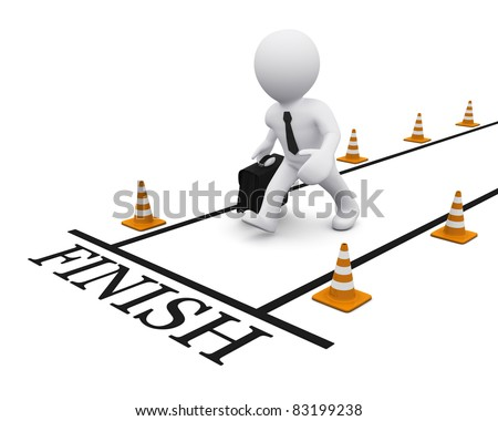 3D man running towards the finish line - stock photo