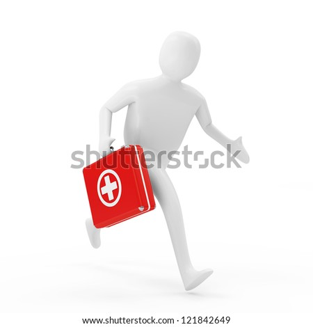 3d Man Running with First Aid Box