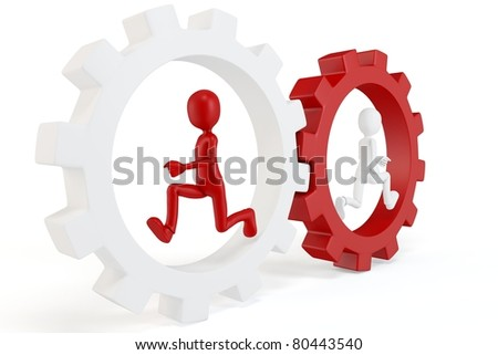 3d man running with red and white gears isolated on white