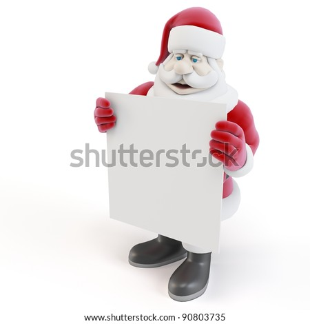 3d man santa with blank list on white background