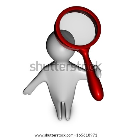 3d man searching informations with magnifying glass, universal knowledge concept illustration isolated - stock photo