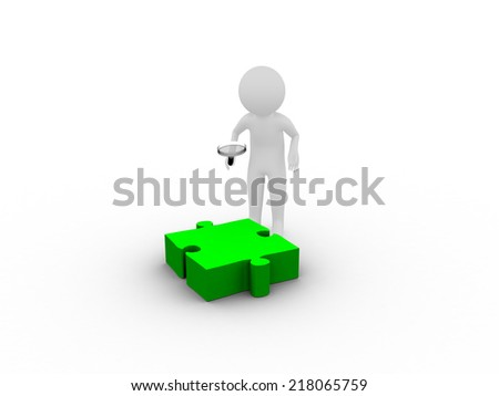 3D man searching on green puzzle piece - stock photo