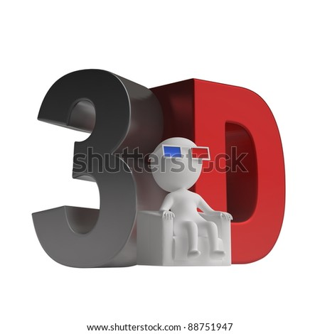 3d man seated in a chair in stereoscopic glasses and 3d icon. isolated on white background - stock photo