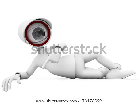 3d man security camera surveillance lying and pointing on white background - stock photo
