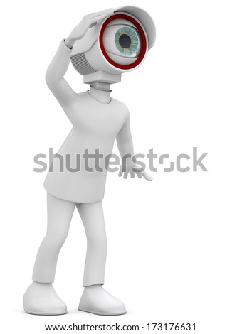 3d man security camera surveillance on white background - stock photo