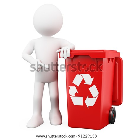 3D man showing a red bin for recycling - stock photo