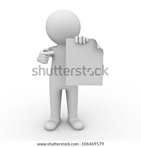 3d man showing blank paper and pointing finger at it on white background - stock photo