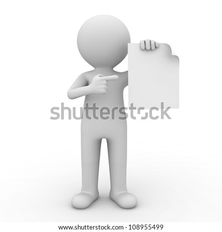 3d man showing blank paper and pointing finger at it over white background - stock photo