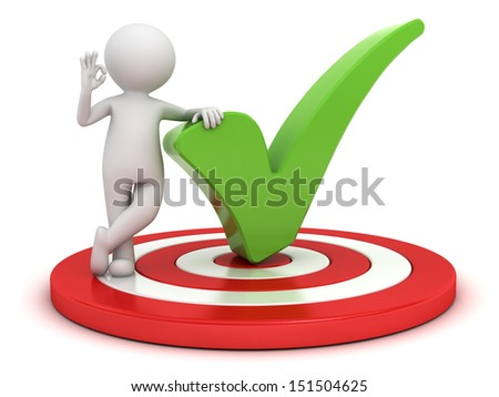 3d man showing okay hand gesture with green check mark standing on dartboard isolated over white background - stock photo