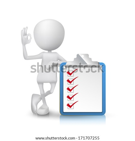 3d man showing okay hand sign with a clipping note pad and check list