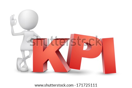 "3d man showing okay hand sign with a word ""KPI""( Key Performance Indicator ) - stock photo"