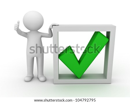 3d man showing thumb up with green check mark in box on white background - stock photo